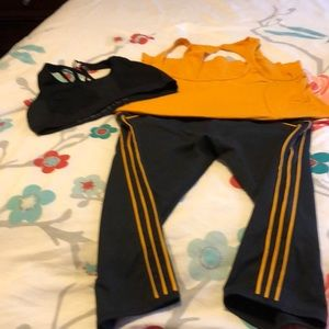 Fabletics capri with sports bra and top